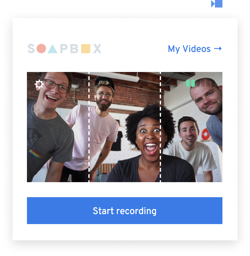 A Chrome extension popup showing a preview of the webcam, reflecting 5 friendly people followed by the call to action Start Recording